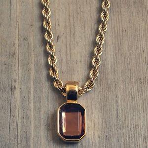 Beautiful Joan Rivers Amber Pendant Necklace